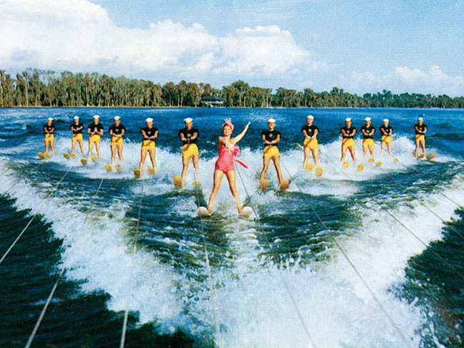 The 1953 film Easy to Love, starring Esther Williams, was shot on location at Florida's original theme park, Cypress Gardens, and features spectacular water-skiing routines and stunts. Williams (in the pink swimsuit) performed her own stunts despite being pregnant during filming.