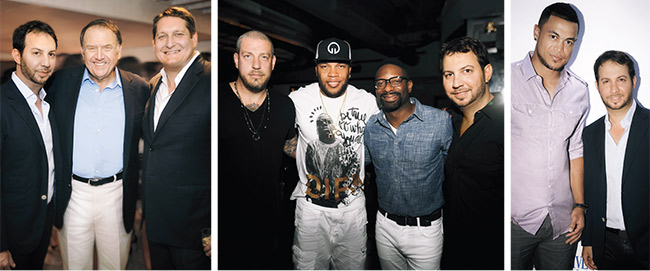 "From left: Catching up with Richard LeFrak and Courtland Lantaff at the Ocean Drive April cover party at LeFrak's 1 Hotel & Homes South Beach; celebrating the April edition of ""The List,"" here with Muzik's Jason Hardi, Flo Rida, and DJ Irie; talking baseball with Marlins superstar and Ocean Drive April cover star Giancarlo Stanton at our cover party atop 1 Hotel & Homes South Beach."
