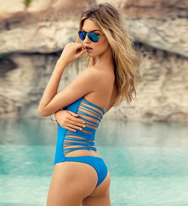 "Swimsuit, Mikoh ($208). <a href=""http://atriumnyc.com"" target=""_blank"">Atrium</a>, 1931 Collins Ave., Miami Beach, 305-695- 0757. Sunglasses, Polaroid ($60). <a href=""http://solsticesunglasses.com"" target=""_blank"">Solstice Sunglass Boutique</a>, 227 Eighth St., Miami Beach, 786- 245-5006. Wire cuff, R.J. Graziano ($45). <a href=""http://saks.com"" target=""_blank"">Saks Fifth Avenue</a>, Bal Harbour Shops, 9700 Collins Ave., 305-865-1100"