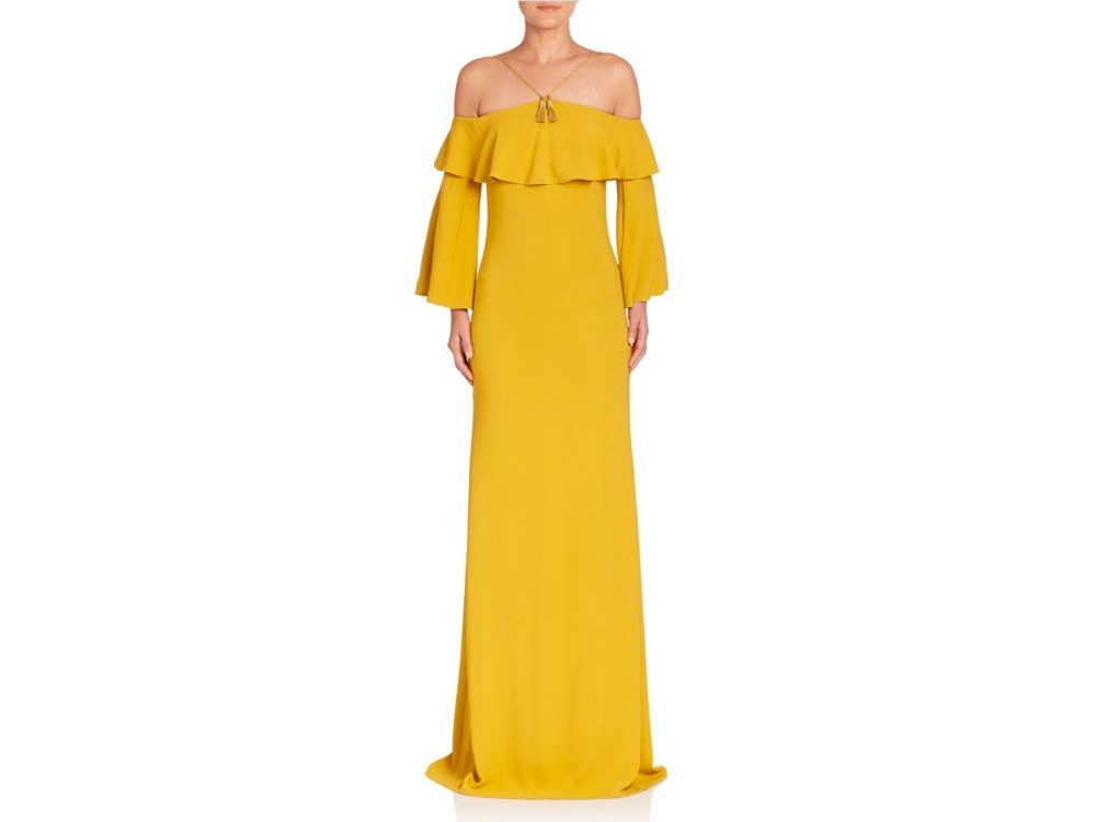 Roberto-Cavalli-Off-the-Shoulder-Yellow-Gown