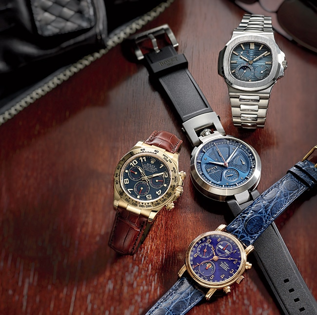 "<p>Clockwise from top right: <br>   From     <a href=""http://patek.com"" target=""_blank"">Patek Philippe</a>, this 40mm   Ref. 5712 Nautilus watch   ($33,500) is crafted in   stainless steel and has a blue/   black dial. It offers out-ofwater   features such as   moon-phase indication and   sub-seconds dial but is also   water resistant to 60 meters.   Mayor's Jewelers, Dadeland   Mall, 7535 N. Kendall Dr.,   Miami, 305-667-7517 </p> <p> Top-notch automotive   inspiration is behind this   <a href=""http://bovet.com"" target=""_blank"">Bovet</a> by Pininfarina ""Sergio""   Split-Second Chronograph   ($34,500). It is crafted in   shot-blasted stainless steel in   the brand's much-loved   45mm Amadeo Convertible   case (which can transform a   wristwatch into a pocket   watch or table clock). The   watch is powered by a   self-winding mechanical   movement and offers hours,   minutes, small seconds, and   split-second chronograph   function with 30-minute   counter. Just 250 will be   made. East Coast Jewelry,   16810 Collins Ave., Sunny Isles   Beach, 305-947-8883</p> <p> From <a href=""http://waldanwatches.com"" target=""_blank"">Waldan</a>, this Waldan   International 0195BChronograph   Chronometer   ($10,000) is crafted in 18k   rose gold with a front sapphire   crystal and the choice of a   sapphire crystal display back   or solid-gold screw-down   back. The COSC-certified   Valjoux 7751 automaticwinding   movement offers   chronograph, GMT time, triple   date, moon-phase, and 42   hours of power reserve, along   with an Incabloc shockabsorption   system, right for   any sport. ECJ Luxe Collection,   332 Plaza Real, Boca Raton,   561-353-5216</p> <p> From <a href=""http://rolex.com"" target=""_blank"">Rolex</a>, this 18k   yellow-gold Oyster Perpetual   Cosmograph Daytona watch   ($25,150) takes its inspiration   directly from Florida's racing   lure. Its stainless-steel version   has been the trophy for   winners of Le Mans and the   Rolex 24 at Daytona. The   COSC-certified chronometer   is equipped with a tachymeter   scale for measuring speed   and powered by a highperformance   chronograph   movement. Mayor's Jewelers,   Dadeland Mall, 7535 N.   Kendall Dr., Miami, 305-667-   7517</p> <p> Cafron tray, <a href=""http://ralphlaurenhome.com"" target=""_blank"">Ralph Lauren   Home</a> ($195). Bal Harbour   Shops, 9700 Collins Ave.,   305-861-2059. Gloves, <a href=""http://bottegaveneta.com"" target=""_blank"">Bottega   Veneta</a> ($390). Bal Harbour   Shops, 305-864-6247.   Sunglasses, <a href=""http://prada.com"" target=""_blank"">Prada</a> ($325).   Miami Design District, 180   NE 40th St., 305-438-2280</p>"