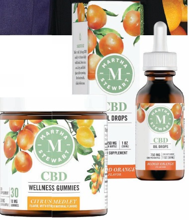 Clockwise from top: It was Snoop Dogg who introduced Stewart to Canopy Growth; Martha Stewart CBD blood orange oil drops; Martha Steward CBD wellness gummies in Citrus Medley. PRODUCT PHOTOS COURTESY OF BRAND