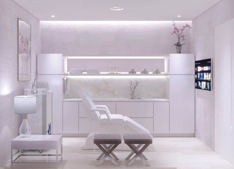 The interior of a serene treatment room at SKINNEY Medspa at Saks Bal Harbour. PHOTO COURTESY OF SKINNEY MEDSPA
